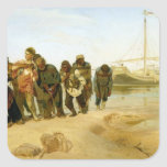 Los barqueros en el Volga, 1870-73 Pegatina Cuadrada