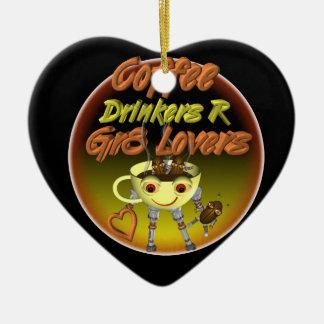 Los bebedores R del café mejoran a amantes Adorno Navideño De Cerámica En Forma De Corazón