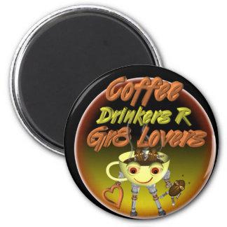 Los bebedores R del café mejoran a amantes Imán Redondo 5 Cm