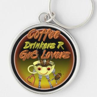 Los bebedores R del café mejoran a amantes Llavero Redondo Plateado