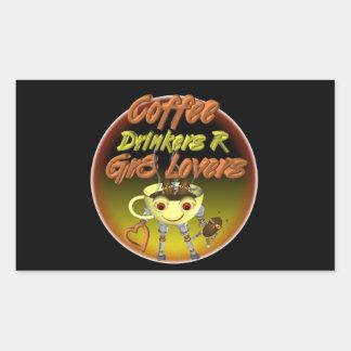 Los bebedores R del café mejoran a amantes Pegatina Rectangular