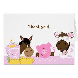 Los bebés rosados de la granja doblados le agradec felicitacion