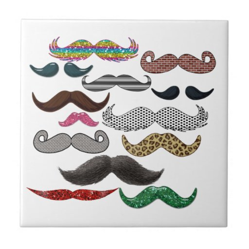 Los bigotes del collage del bigote populares añade azulejo cuadrado pequeño