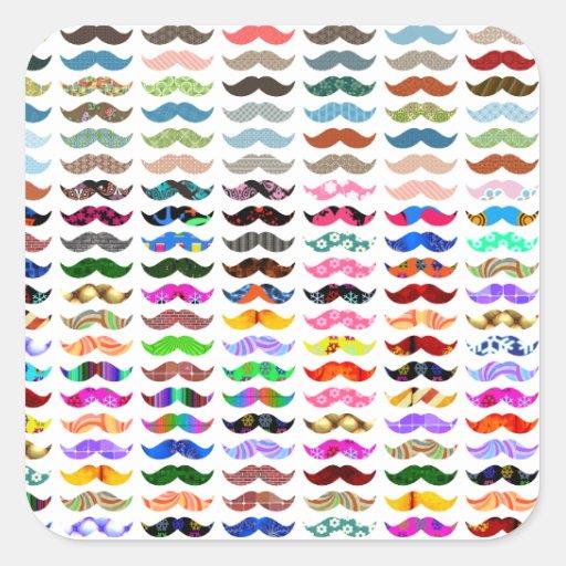 los bigotes modelan son divertidos pegatina cuadradas