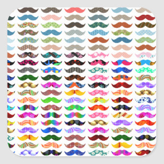 los bigotes modelan son divertidos pegatina cuadrada