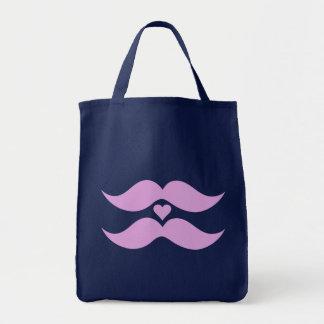 Los bigotes rosados empaquetan - elija el estilo,  bolsa tela para la compra