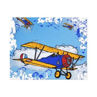 Los biplanos del dibujo animado WWI envolvieron la Impresión En Lona Estirada