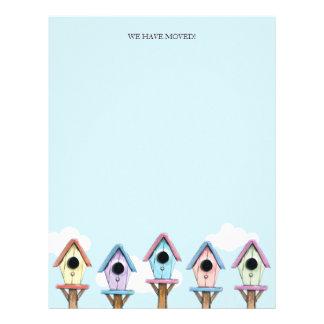 Los Birdhouses coloridos el hemos movido el pape Plantillas De Membrete