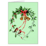 Los *Birds del vintage, Belces y el navidad Holly* Tarjeta
