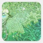 Los BLING del ADALIA en el verde de Kelly, saltan Pegatina Cuadrada