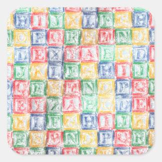 Los bloques de los niños coloridos pegatina cuadrada