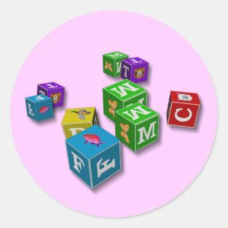 Los bloques de los niños - pegatinas etiquetas redondas