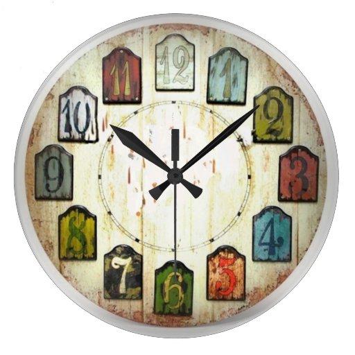 Los bloques numerados reloj redondo grande