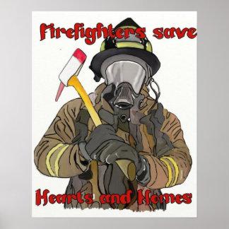 Los bomberos ahorran corazones y hogares póster