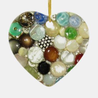 Los botones de la abuelita 2 diseños en 1 adorno navideño de cerámica en forma de corazón