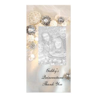 Los botones Quineañera del diamante de la perla le Tarjetas Fotograficas Personalizadas