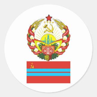 Los brazos y señalan el representante soviético etiqueta redonda