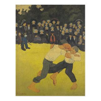 Los bretones de lucha, c.1893 postal