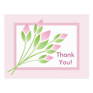 Los brotes color de rosa le agradecen postal
