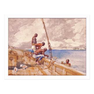 Los buceadores de la concha de Winslow Homer Postal