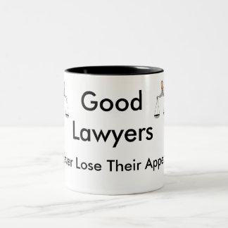 Los buenos abogados nunca pierden su súplica taza de café de dos colores