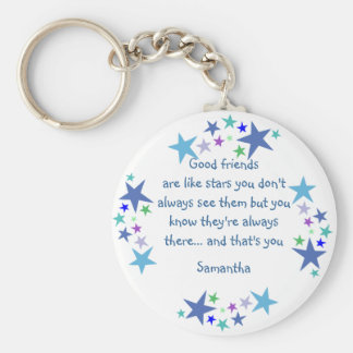 Los buenos amigos son como el nombre de encargo de llavero redondo tipo pin