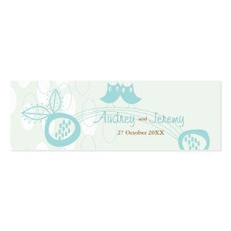Los búhos azules en personalizado del amor le tarjetas de visita mini