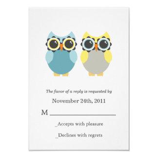 """Los búhos azules y amarillos que casan las invitación 3.5"""" x 5"""""""