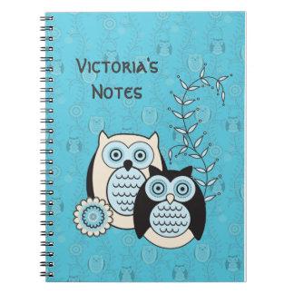 Los búhos del invierno personalizaron el cuaderno