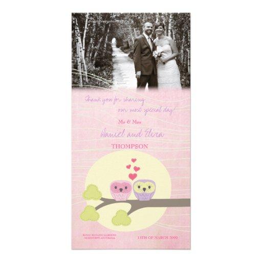 Los búhos del pájaro del amor le agradecen tarjeta tarjetas fotograficas personalizadas