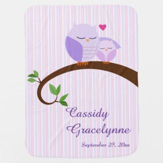 Los búhos púrpuras personalizaron la manta del beb mantas de bebé