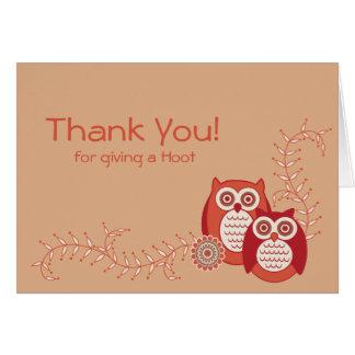Los búhos retros le agradecen observar tarjeta pequeña