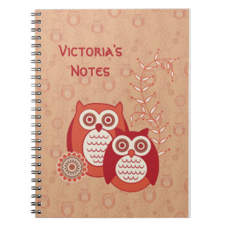 Los búhos retros personalizaron el cuaderno