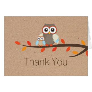 Los búhos rústicos le agradecen tarjeta de nota