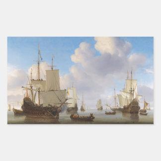 Los buques de guerra holandeses y el otro envío en rectangular altavoz