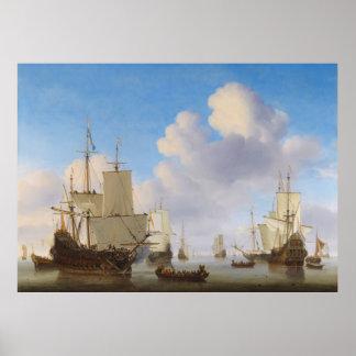 Los buques de guerra holandeses y el otro envío en póster
