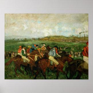 Los caballeros de Edgar Degas el | compiten con, Póster