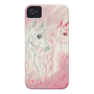 Los caballos árabes curiosos iPhone 4 Case-Mate cárcasas