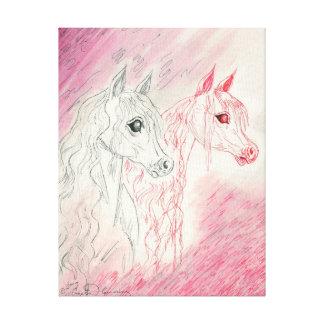 Los caballos árabes curiosos impresión en tela