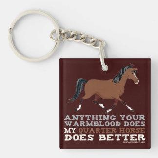 Los caballos cuartos mejora llavero cuadrado acrílico a doble cara