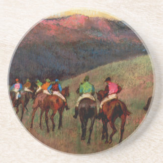 Los caballos de carreras en un arte del caballo de posavasos diseño