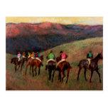 Los caballos de carreras en un arte del caballo de tarjeta postal