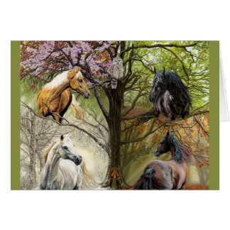 Los caballos de las cuatro estaciones esconden la tarjeta de felicitación