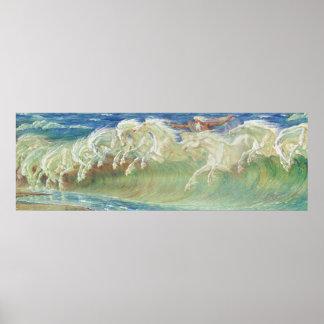 Los caballos de Neptuno por la grúa de Gualterio Póster