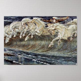 Los caballos de Neptuno por la grúa Gualterio Póster