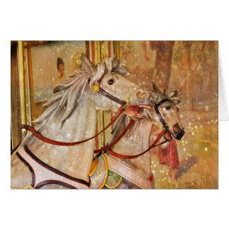 Los caballos del carrusel 5 x 7 texturizaron dos c tarjeta