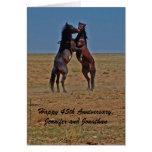Los caballos felices del baile del aniversario felicitación
