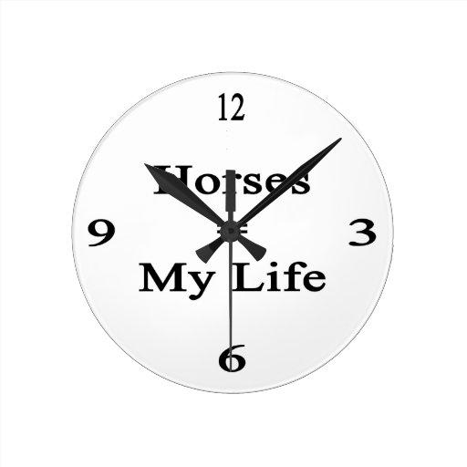 Los caballos igualan mi vida reloj redondo mediano