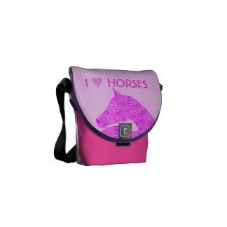 Los caballos personalizados diversión del amor del bolsa de mensajeria