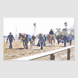 Los caballos superiores del acueducto que dirigen pegatina rectangular